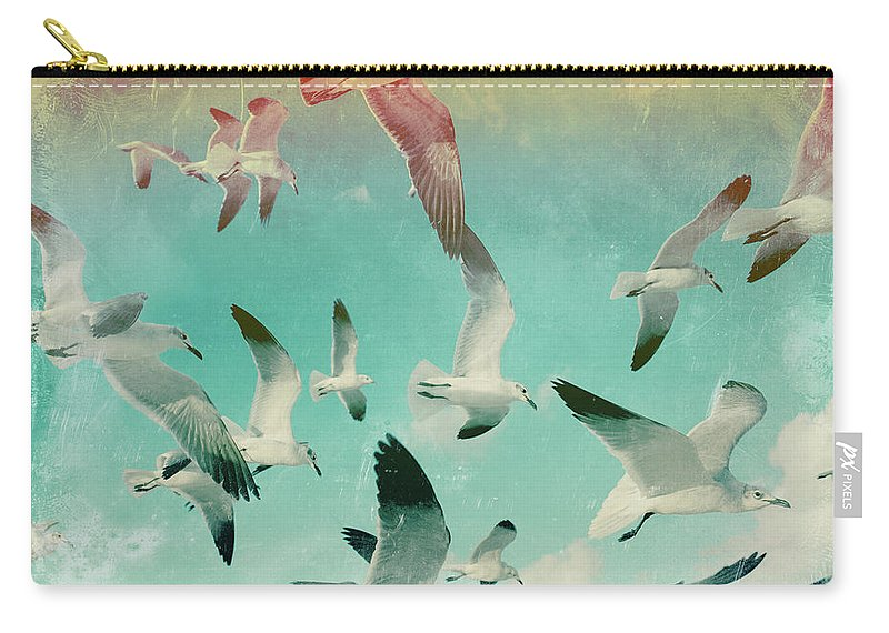 Animal Themes Carry-all Pouch featuring the photograph Flock Of Seagulls, Miami Beach by Michael Sugrue