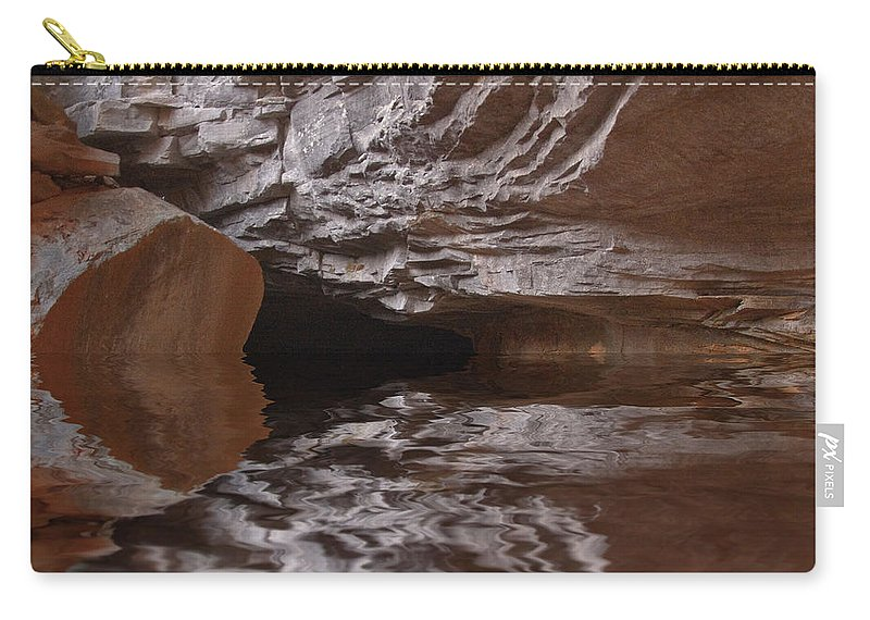 Landscape Carry-all Pouch featuring the digital art flooded Ohio cave by Chris Flees
