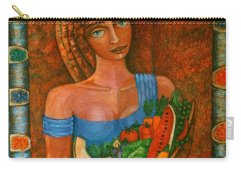Acrylic Carry-all Pouch featuring the painting Flora - Goddess Of The Seeds by Madalena Lobao-Tello