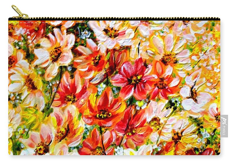Abstract Daises Carry-all Pouch featuring the painting Floral Abstract by Karin Dawn Kelshall- Best