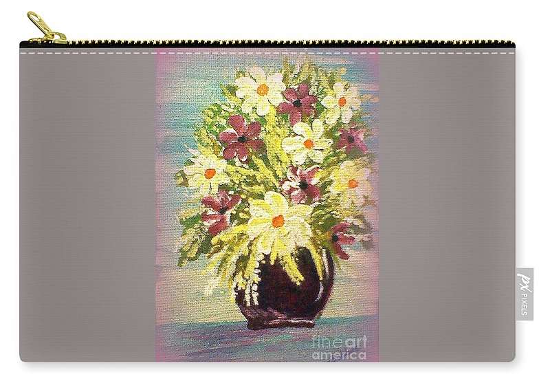 Painting Carry-all Pouch featuring the painting Floral Delight Acrylic Painting by Bobbee Rickard