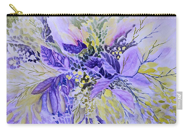 Floral Carry-all Pouch featuring the painting Floral in Mauve by Jo Smoley