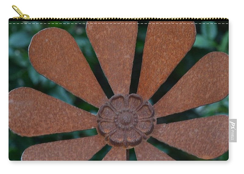 Floral Metal Art Carry-all Pouch featuring the photograph Floral Metal Art by Maria Urso