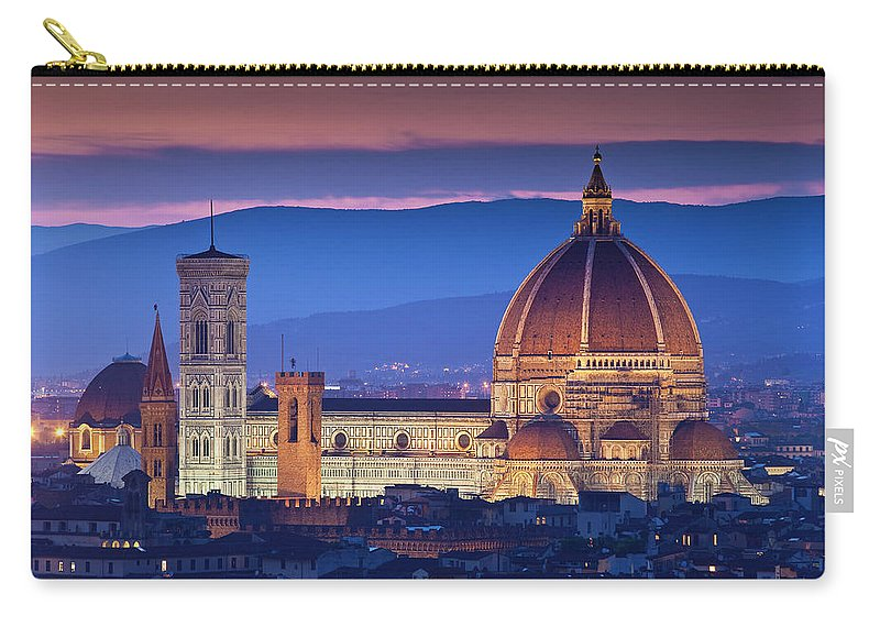 Built Structure Carry-all Pouch featuring the photograph Florence Catherdral Duomo And City From by Richard I'anson