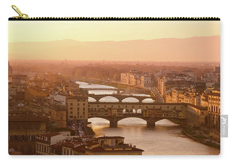 Campanile Carry-all Pouch featuring the photograph Florence City During Golden Sunset by Dragos Cosmin Photos
