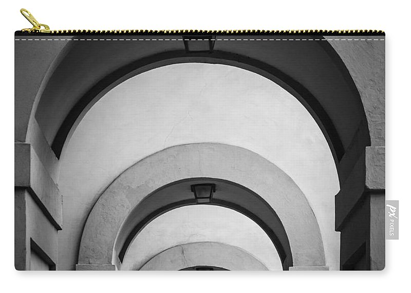 B&w Carry-all Pouch featuring the photograph Florence Hallway by Inge Johnsson