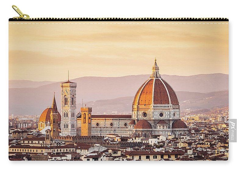 Campanile Carry-all Pouch featuring the photograph Florences Cathedral And Skyline At by Filippobacci