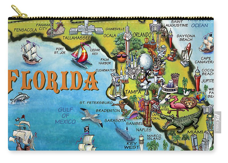 Florida Carry-all Pouch featuring the digital art Florida Cartoon Map by Kevin Middleton
