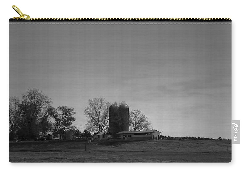 Farmland Carry-all Pouch featuring the photograph Florida Farmlands Black And White by Debra Forand