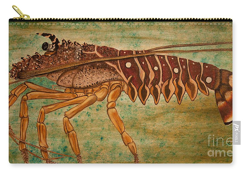 Lobster Carry-all Pouch featuring the painting Florida Spiny Lobster by Susan Cliett