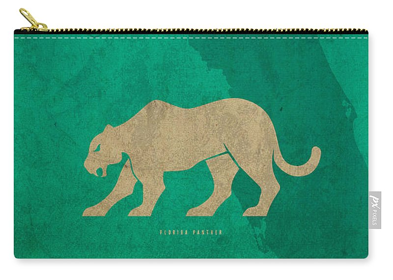 Florida Carry-all Pouch featuring the mixed media Florida State Facts Minimalist Movie Poster Art by Design Turnpike