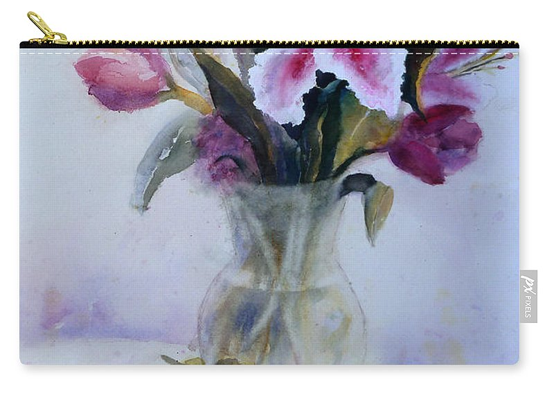 Flower Carry-all Pouch featuring the painting Flower Bouquet With Teapot And Fruit by Carolyn Jarvis