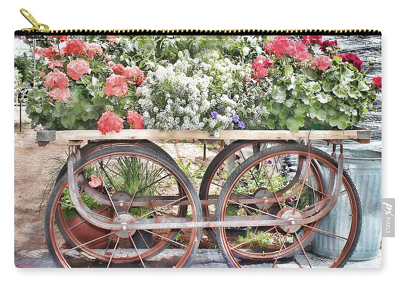 Antique Vendor Cart Carry-all Pouch featuring the photograph Flower Cart by Sylvia Thornton