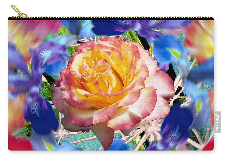 Flowers Carry-all Pouch featuring the digital art Flower Dance 2 by Lisa Yount