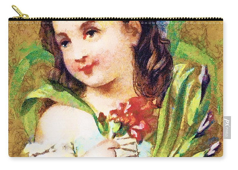 Vintage Trading Cards Carry-all Pouch featuring the digital art Flower Girl by Vintage Trading Cards