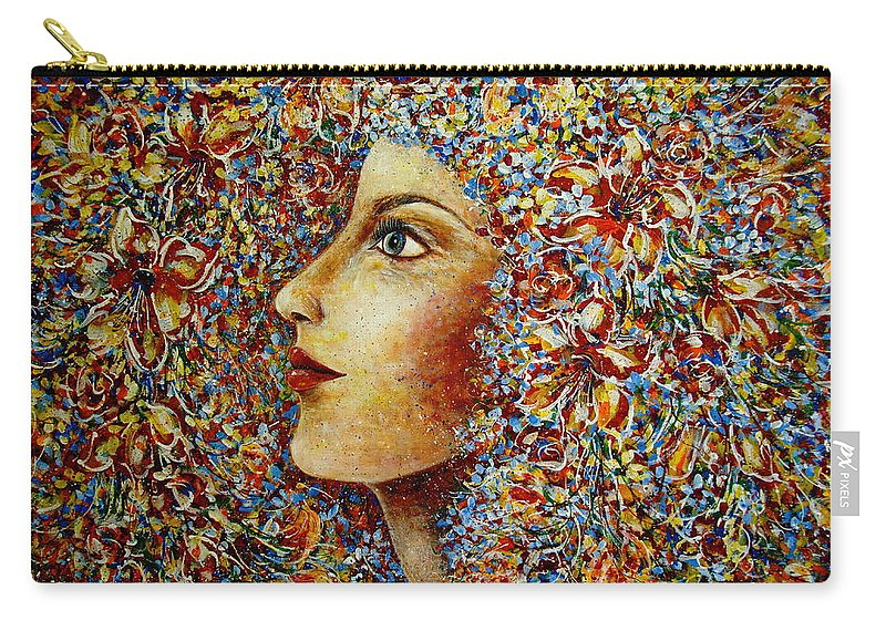 Flower Goddess Carry-all Pouch featuring the painting Flower Goddess. by Natalie Holland
