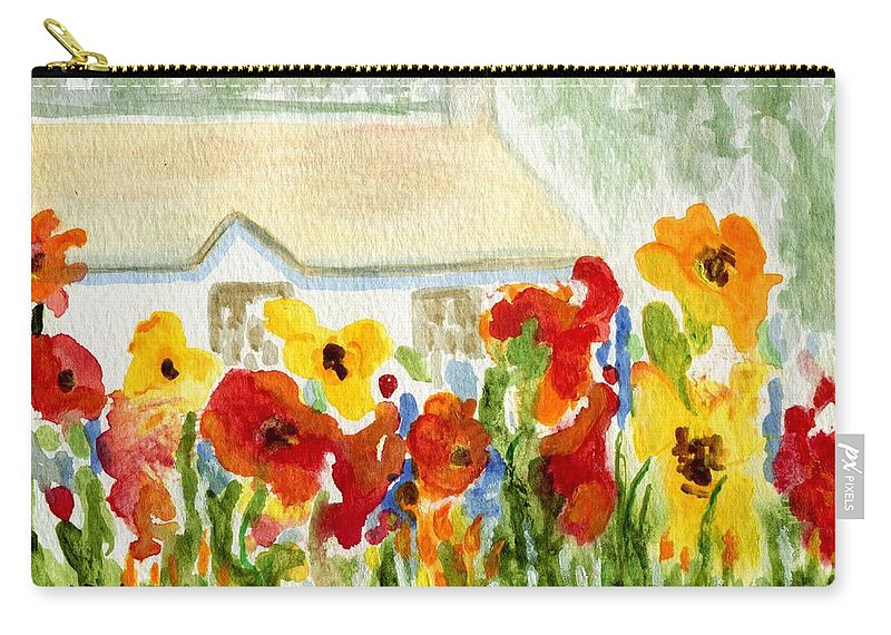 Flowers Carry-all Pouch featuring the painting Flower House by Jamie Frier