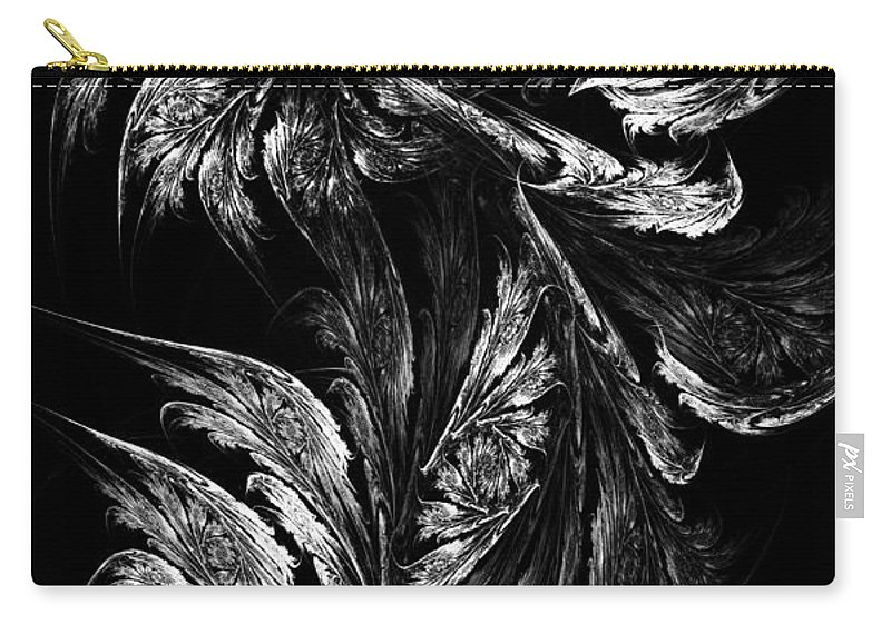 Flower Carry-all Pouch featuring the digital art Flower In Black-and-white by Klara Acel