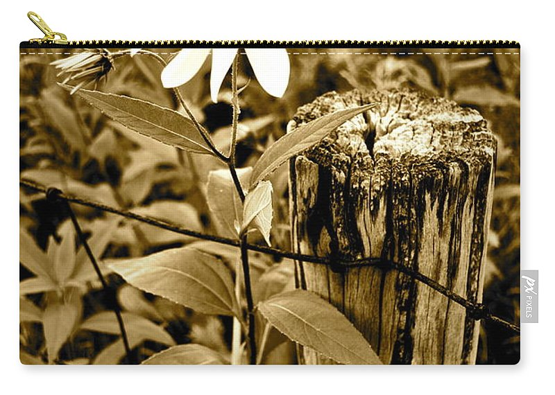 Flower Carry-all Pouch featuring the photograph Flower In Sepia by Frozen in Time Fine Art Photography