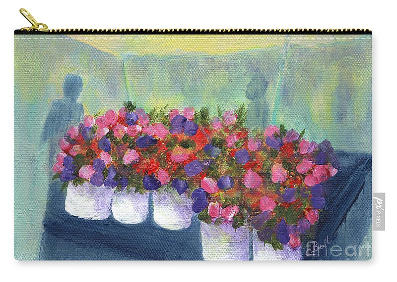 Flowers Carry-all Pouch featuring the painting Flower Market by Claire Bull