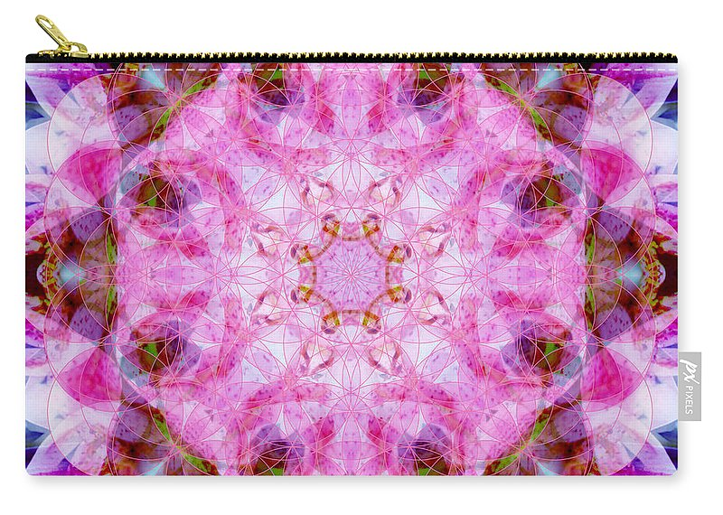 Rainbow Carry-all Pouch featuring the photograph Flower Of Life Lily Mandala by Susan Bloom