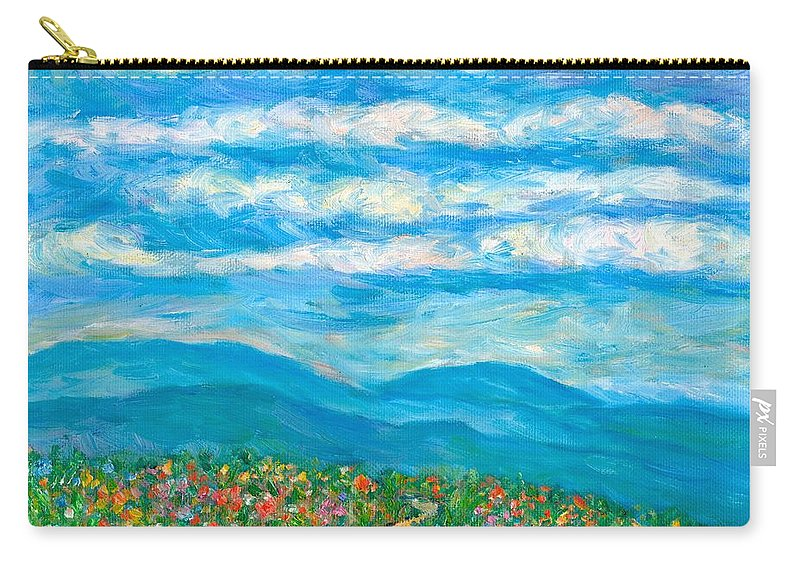 Blue Ridge Paintings Carry-all Pouch featuring the painting Flower Path To The Blue Ridge by Kendall Kessler