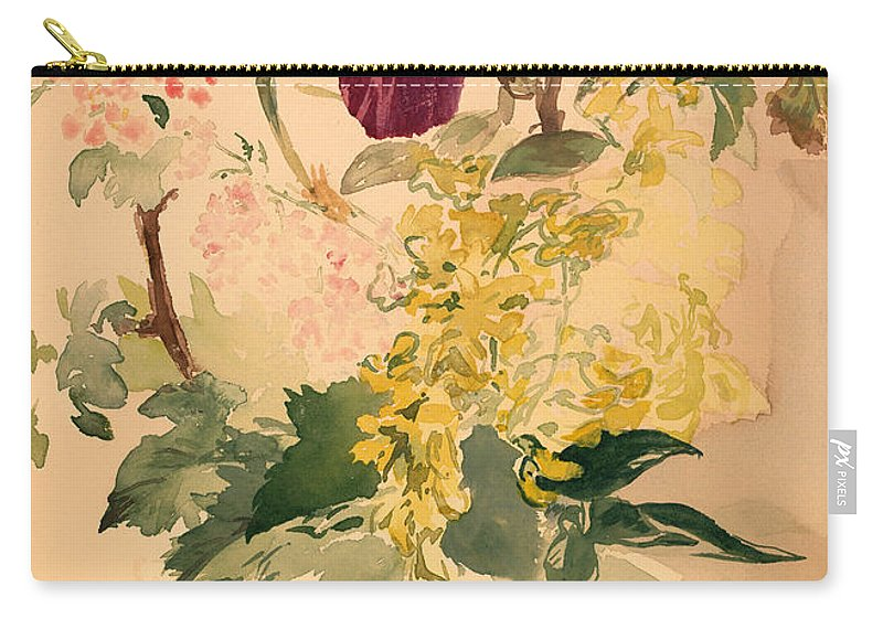 Painting Carry-all Pouch featuring the painting Flower Piece With Iris Laburnum And Geranium by Mountain Dreams