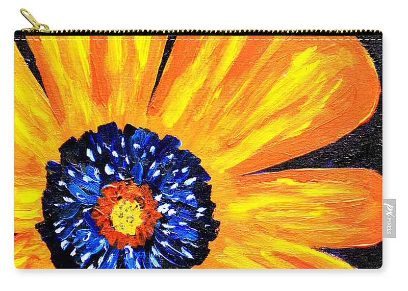 Yellow Carry-all Pouch featuring the painting Flower Power 2 by Paul Anderson