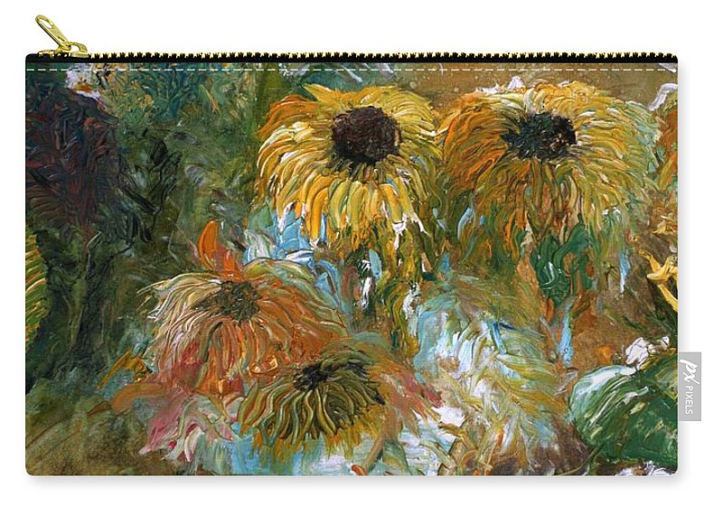 Flowers Carry-all Pouch featuring the painting Flower Rain by Jack Diamond