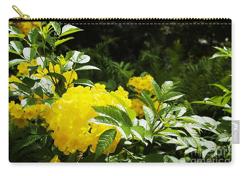 Yellow Carry-all Pouch featuring the photograph Flower - Austin Botanical Gardens - Luther Fine Art by Luther Fine Art