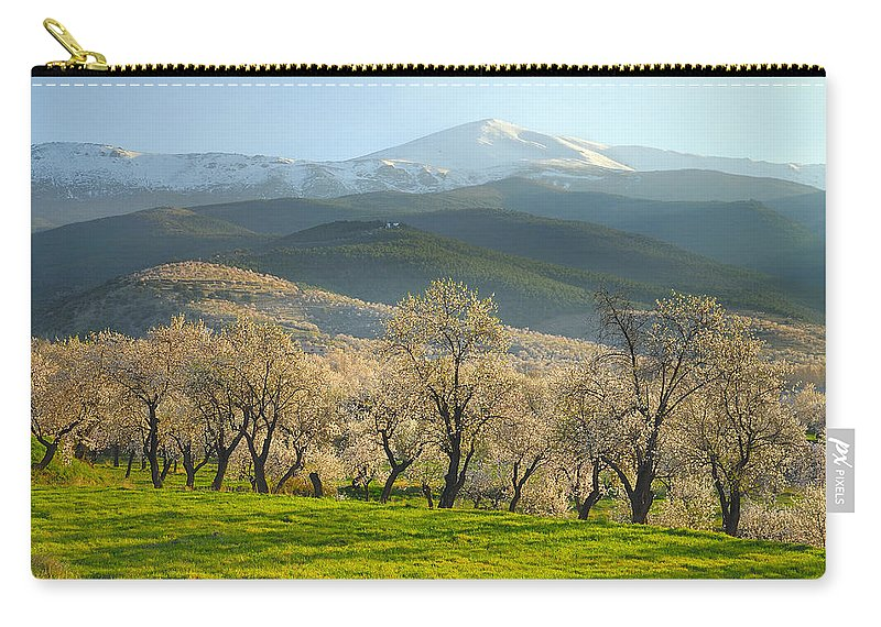 Almond Carry-all Pouch featuring the photograph Flowering Almond At The Mountains by Guido Montanes Castillo