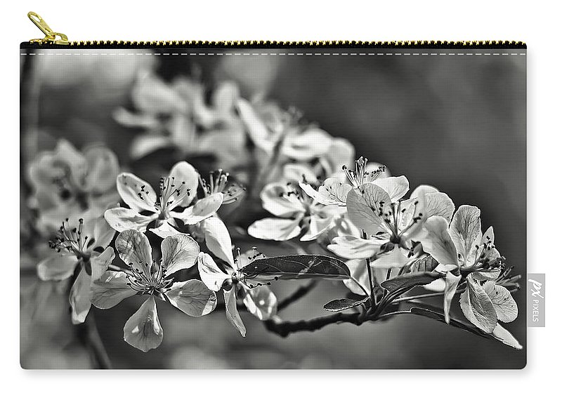 Black Carry-all Pouch featuring the photograph Flowering Crabapple 2 Bw by Scott Wood