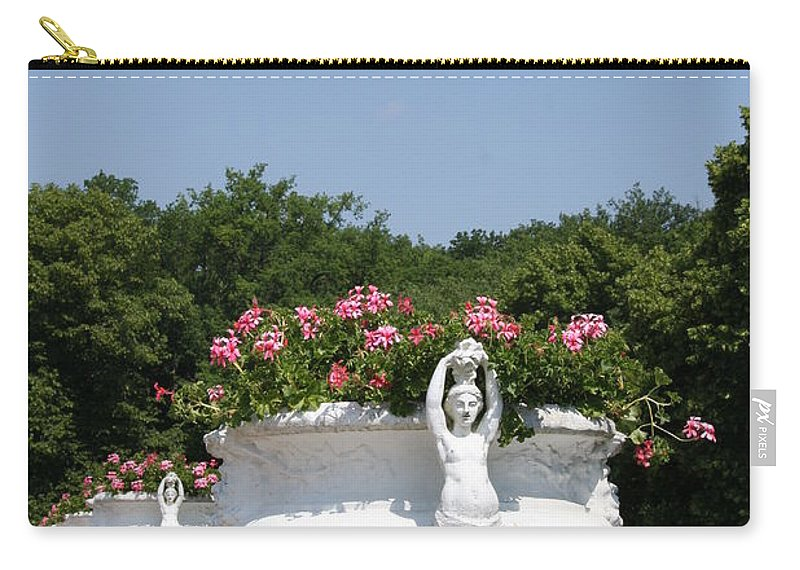Basin Carry-all Pouch featuring the photograph Flowerpots In A Row - Chateau Chenonceau by Christiane Schulze Art And Photography