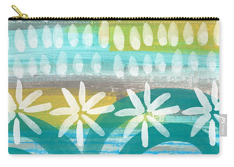 Blue And Yellow Painting Carry-all Pouch featuring the painting Flowers and Waves- abstract pattern painting by Linda Woods