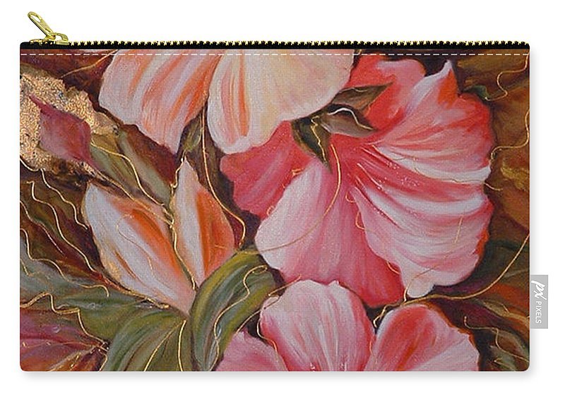 Abstract Carry-all Pouch featuring the painting Flowers II by Silvana Abel