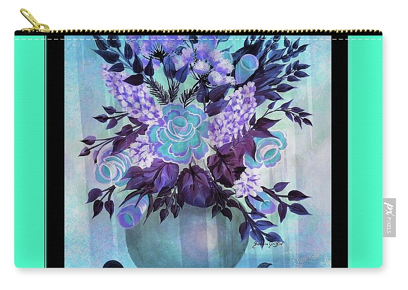 Flowers In A Vase With Blue Border Carry-all Pouch featuring the painting Flowers In A Vase With Blue Border by Barbara Griffin