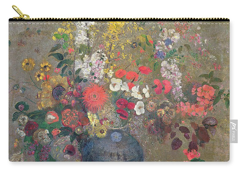 Vase; Still Life; Blue; Pink; Yellow Carry-all Pouch featuring the painting Flowers by Odilon Redon