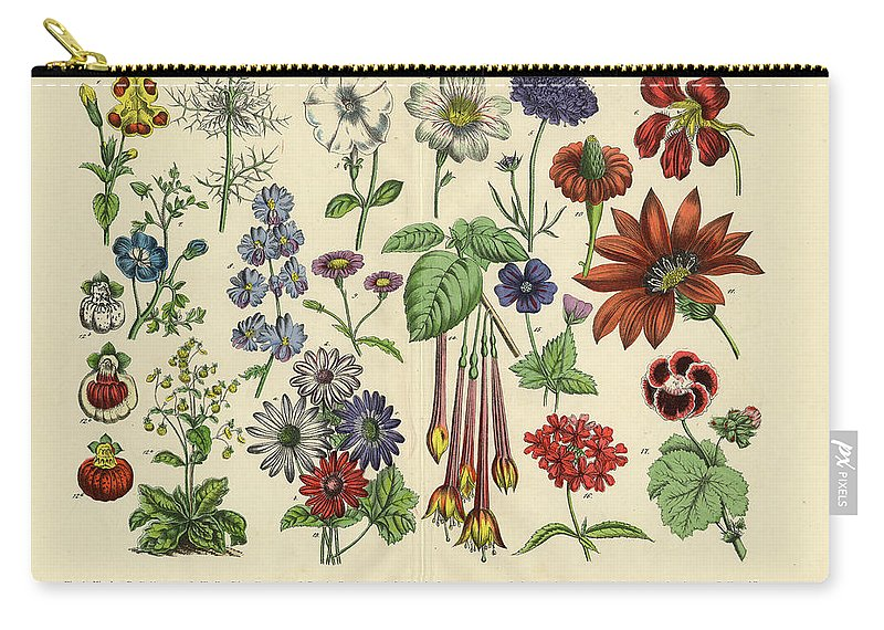 Lantana Carry-all Pouch featuring the digital art Flowers Of The Garden, Victorian by Bauhaus1000