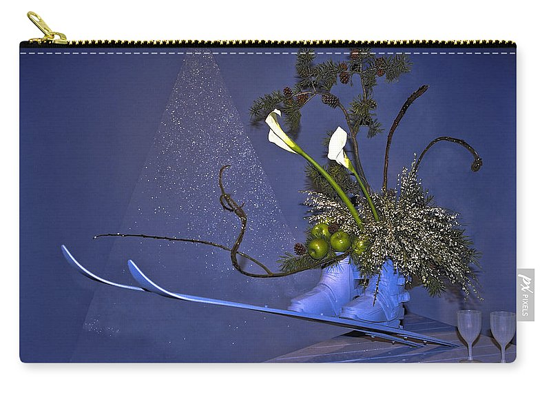 Floral Arrangement Carry-all Pouch featuring the photograph Flowers On Skis by Sally Weigand
