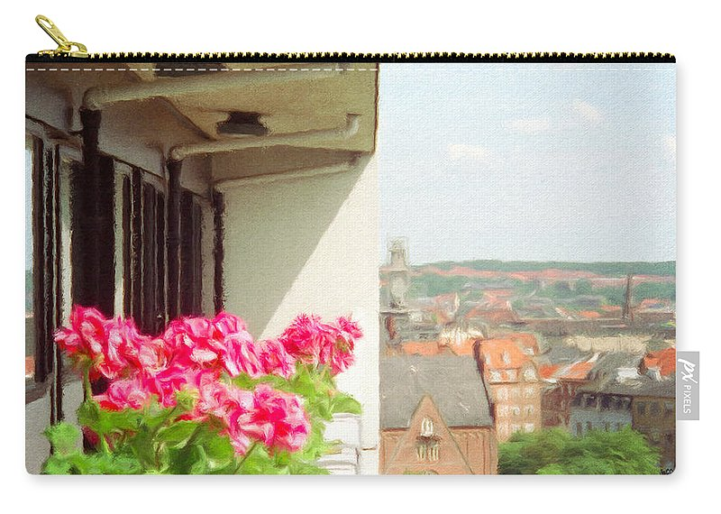 Aarhus Carry-all Pouch featuring the painting Flowers On The Balcony by Jeffrey Kolker