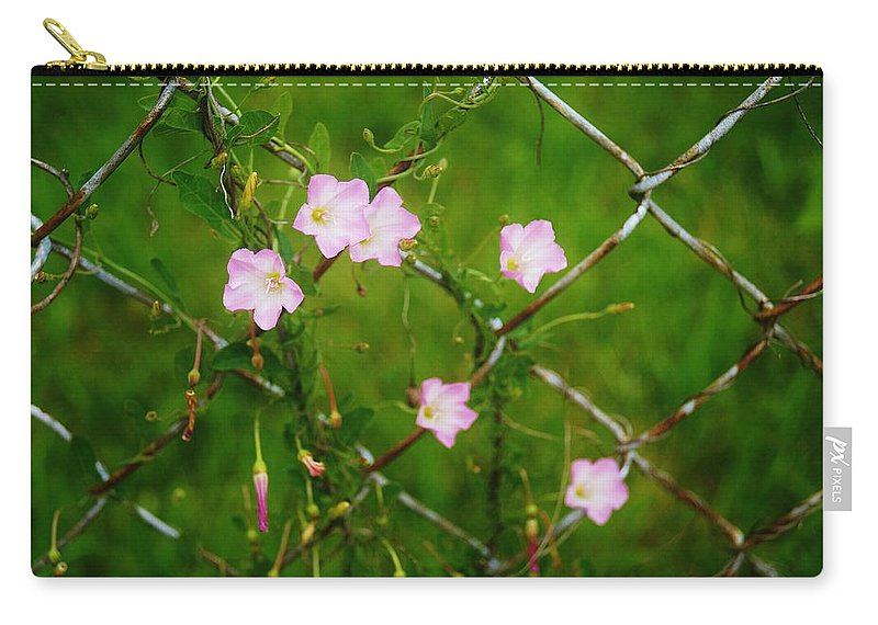 Fence Carry-all Pouch featuring the photograph Flowers... On The Fence by Daniel Thompson