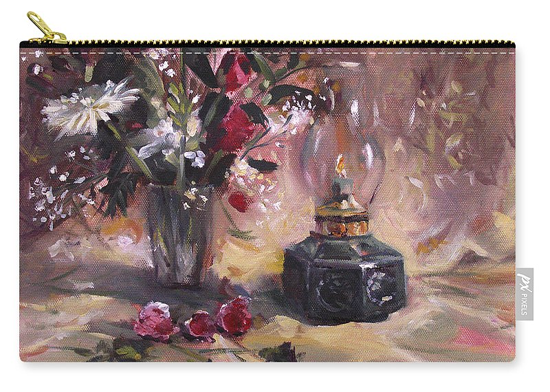 Flowers Carry-all Pouch featuring the painting Flowers With Lantern by Nancy Griswold