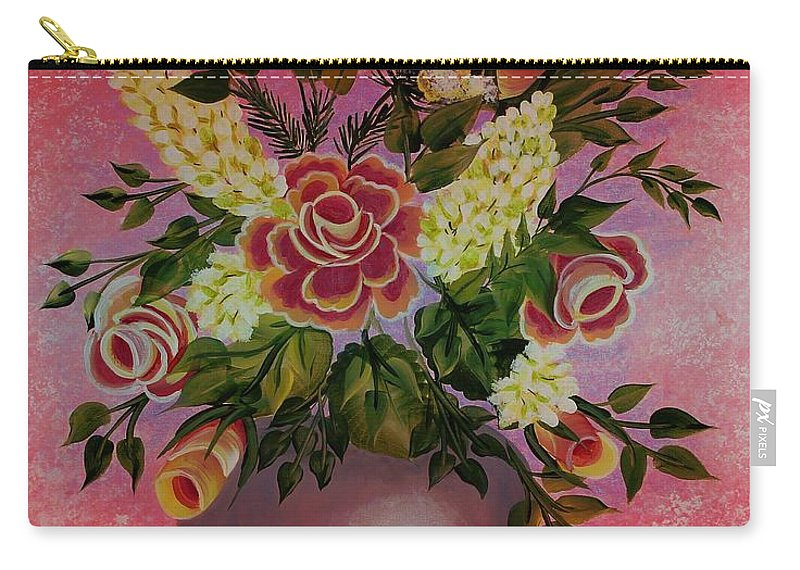 Flowers With Red Background Carry-all Pouch featuring the painting Flowers With Red Background by Barbara Griffin