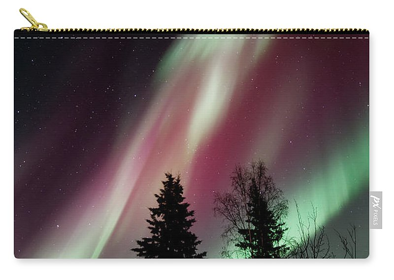 Northern Light Carry-all Pouch featuring the photograph Flowing Colours by Priska Wettstein