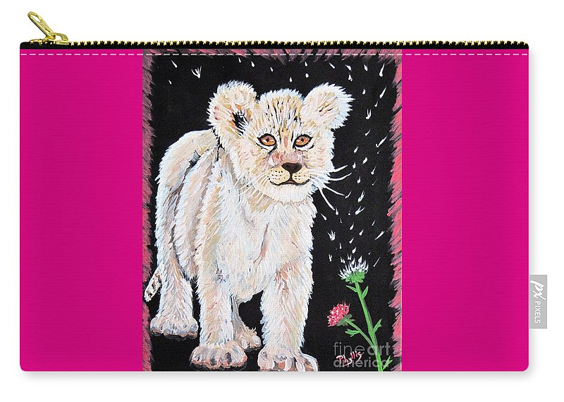 Lion Cub Carry-all Pouch featuring the painting Fluffy And Thistle by Phyllis Kaltenbach