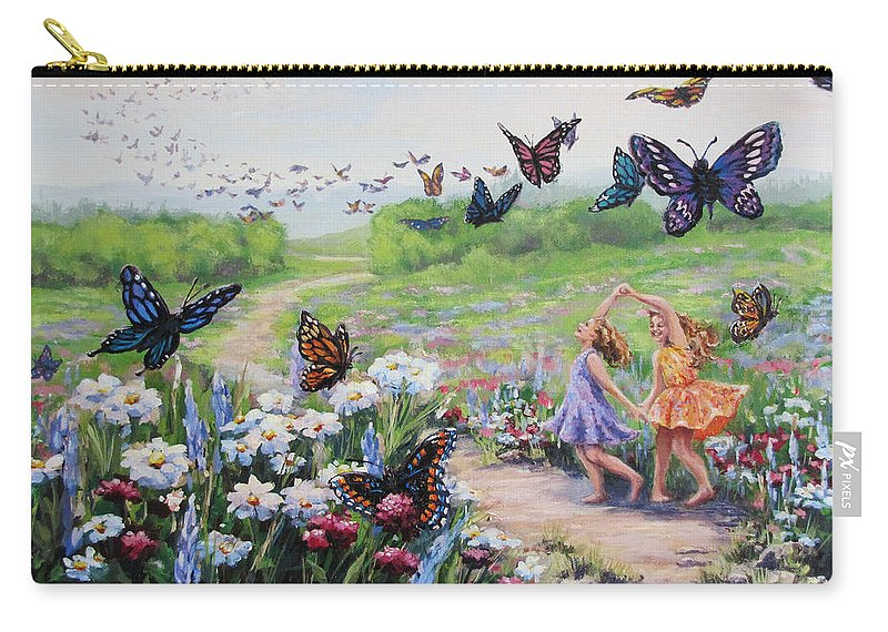 Girls Carry-all Pouch featuring the painting Flutterby Dreams by Karen Ilari