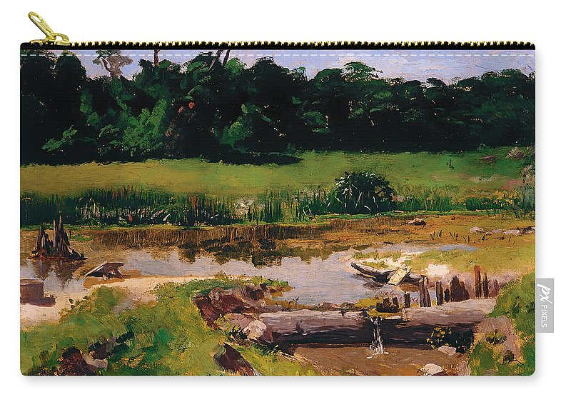 Painting Carry-all Pouch featuring the painting Fluvial Landscape by Mountain Dreams