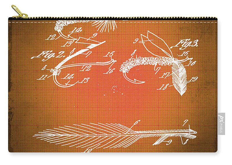 Artificial Fishing Bait Carry-all Pouch featuring the mixed media Fly Fishing Bait Patent Blueprint Drawing Sepia by Tony Rubino