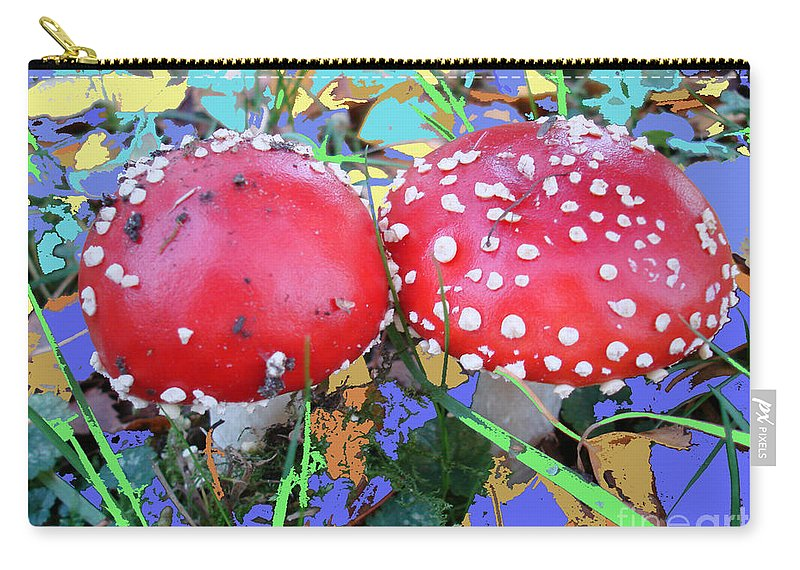 Fly-fungus Carry-all Pouch featuring the photograph Fly-fungus With Blue Leaves By M.l.d.moerings 2009 by Marion Moerings