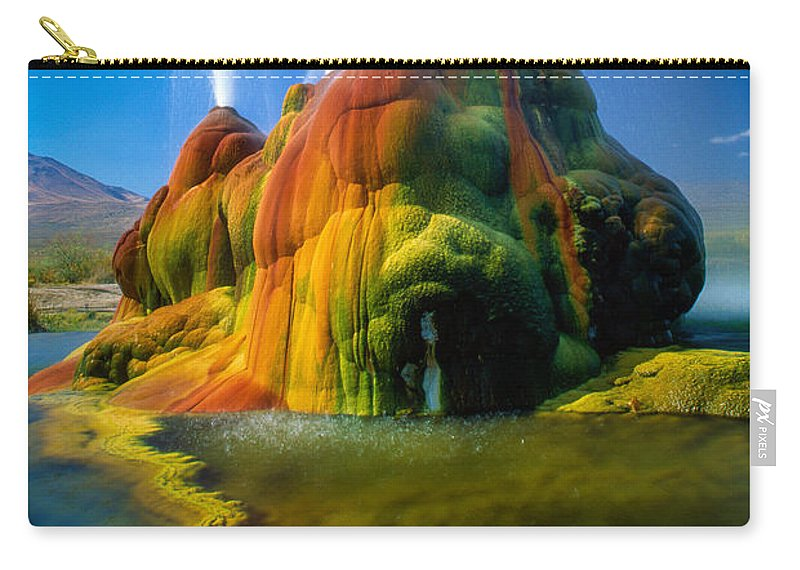 Fly Geyser Carry-all Pouch featuring the photograph Fly Geyser Travertine by Inge Johnsson